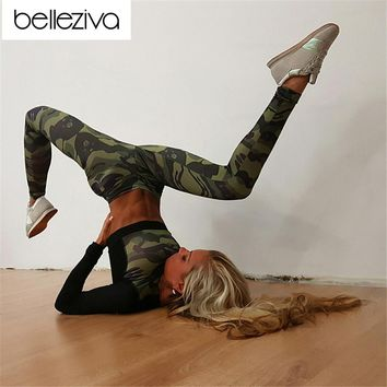 Belleziva 2017 Sexy Girls Gym Tracksuit Fitness Tights Yoga Set Workout Clothing Leggings Shirt Top Camouflage Women Sports Suit
