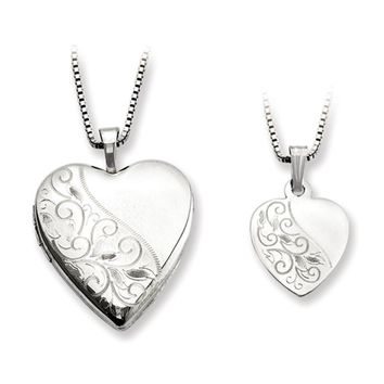 925 Sterling Silver Textured Scrollwork Mother Daughter Necklace Set