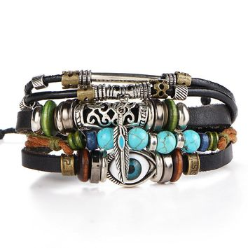 Punk Design Turkish Eye Bracelets For Men Woman Fashion Wristband Female Owl Leather Bracelet Stone Vintage Jewelry