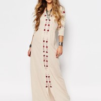 Glamorous Maxi Smock Dress With Festival Embroidery
