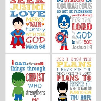 Superhero Christian Nursery Decor Print Set of 4, Superman, Captain America, Hulk and Batman