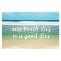 "Sylvia Cook ""Any Beach Day"" Coastal Typography Decorative Door Mat"