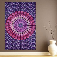 The Drea Mandala Fuchsia Purple Bohemian Wall Boho Large Tapestry