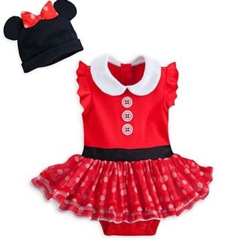 Disney Store Minnie Mouse Baby Deluxe Costume Outfit & Hat 3 6 9 12 18 24 Months
