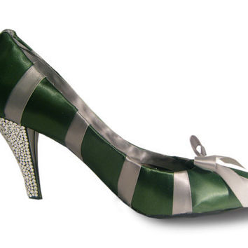 Harry Potter Inspired Ribbon and Swarovski High Heels - Slytherin