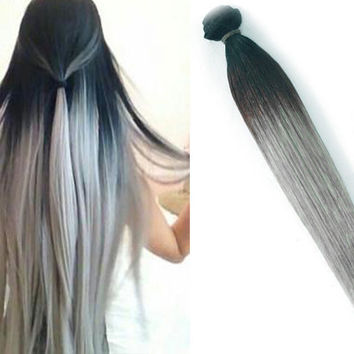 "Silver Ash 12"" 14"" 16"" or 18"" Silver Ash Blonde Full Head #1B 100% Human Hair Ombre Dip Dye Pastel Hair"