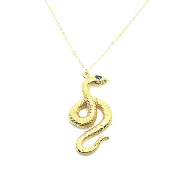 Kundalini Serpent Necklace-14kt Gold over Brass