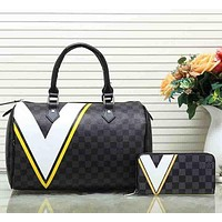 Louis Vuitton trendy women's fashion leather wallet purse set two-piece suit F Yellow