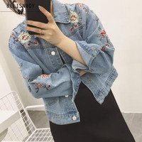 Denim Jacket Women 2017 New Fashion Floral Embroidery Jean Jacket Women Pocket Basic Coats Chaquetas Mujer Abrigos Mujer Tops