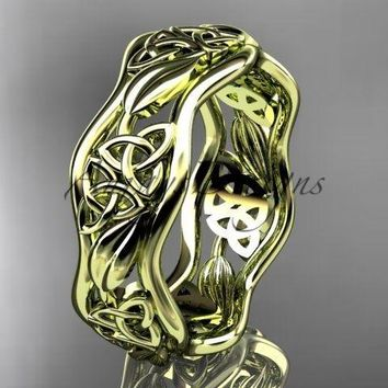 14kt yellow gold celtic trinity knot wedding band, engagement ring CT7506G
