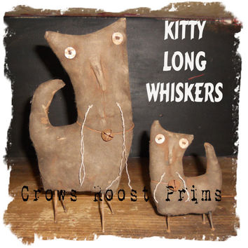 Primitive Kitty Long Whiskers Cat doll  Set of Two