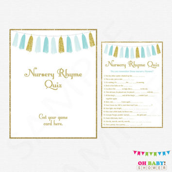 Blue and Gold Baby Shower Games, Nursery Rhyme Quiz, Baby Shower Sign, Boy Baby Shower, Printable Baby Shower, Download Now, Tassels, TASBG