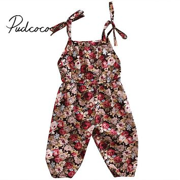 Kids Baby Girls Infant Vintage Floral Romper 2017 New Arrival Summer Jumpsuit Cotton Clothes Outfits 0-3Years