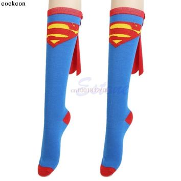 Batman Dark Knight gift Christmas Super Hero Superman Batman Knee High With Cape Soccer Socks Cosplay Costume AT_71_6