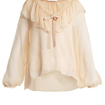 Ruffle-trimmed silk blouse   See By Chloé   MATCHESFASHION.COM US