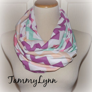 NEW Rainbow Shertbert Chevron on White Infinity Scarf Spring Jersey Knit Cotton Blend Double Loop Scarf Women's Accessories