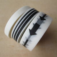 Washi Tape - Three Rolls - Solid White, Stripes and Arrows - Black and White