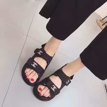 Chanel Summer Women All-match Casual Fashion Diamond Rhinestone Letter Sandals Velcro Flats Shoes