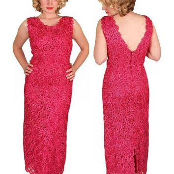 Vintage Dress Hot Pink Pantova Crocheted Rayon Straw Evening Gown 1960S 38-28-38