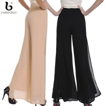 FINEWORDS Autumn Double Chiffon Wide Leg Pants Women Vintage Loose Plus Size Soft Dance Pants Bell Bottom Casual Pantalon Femm