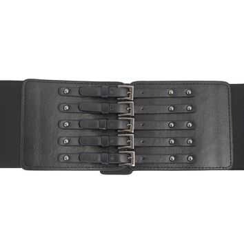Gothic Faux Leather Corset buckle Wide Elastic Belt
