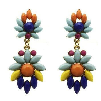 Mulit Color Geometric Post Pin Earring