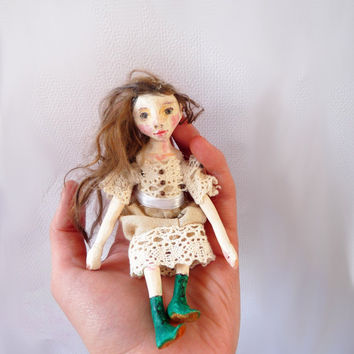 Miniature Paperclay Art Doll - Sculpted Doll House Size Doll - Poppy