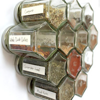 Honeycomb magnetic glass jar storage set- 12 empty hexagonal bottles and labels- spice rack, craft storage- FRIDGE SET- Foodie, Hostess gift