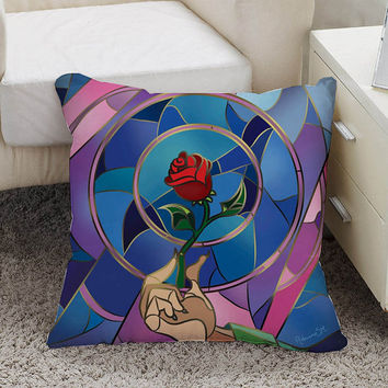 beauty and the beast rose Pillow case size 16 x 16, 18 x 18, 16 x 24, 20 x 30, 20 x 26 One side and Two side