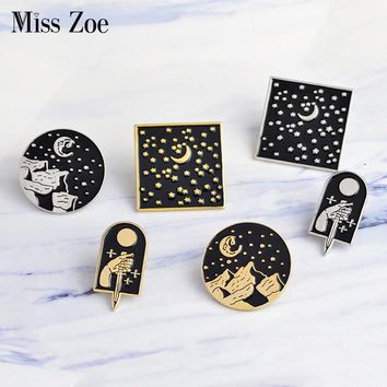 Miss Zoe Starry pins Moonlight dagger moon star mountain Brooch Denim Jacket Lapel Pin Set Black Badge Fashion Gift for Friend