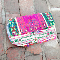 Vintage Embroidered Bell Clutch - Chan Luu