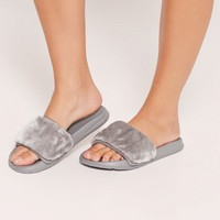 Missguided - Faux Fur Sliders Grey