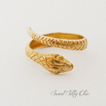 Brass Snake Ring, Gold Tone Raw Brass Hand Formed Snake Ring, Unisex Snake Jewelry