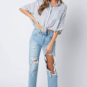 Striped Tie Front Shirt - Blue