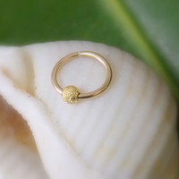 14k Gold Filled hoop ring cartilage/tragus/helix/rook/daith piercing 18g handcrafted stardust piercing