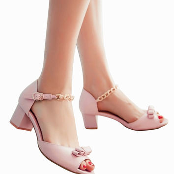 Pastel Pink Bow Heeled Sandals