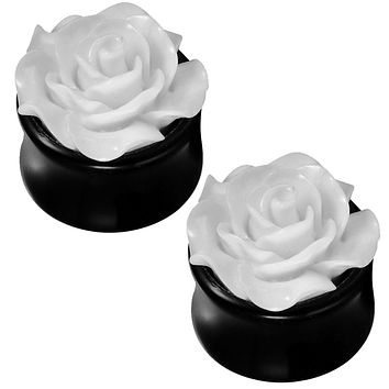 BodyJ4You White Rose Saddle Plugs 0G-18mm (2 Pieces)
