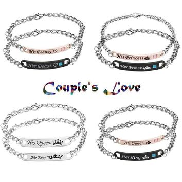 Cool 2018 Letter king and queen Jewelry His Queen Her King His Beauty Her Beast Her Prince His Princess Crown Couple bracelets GiftsAT_93_12