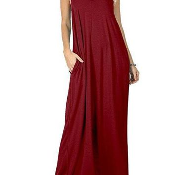 Women Sexy Maxi Dress Solid Spaghetti Strap Pockets Casual Dress Modal Loose Casual Street Wear Summer Sexy Style V Neck Long Dress
