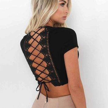 VLXZGW7 Fashion Deep V Short Sleeve Back Crisscross Bandage Hollow Lace T-shirt  Crop Tops