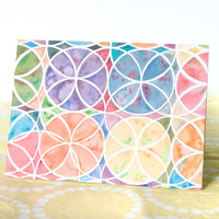 Blank Card with Envelope - Watercolor Intersecting Circles - A6 Sized Cards
