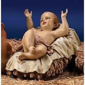 Baby Jesus Nativity Statue - Hand Painted In Color