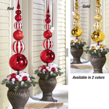 christmas stacked ornament ball finial topiary stake from collections etc - Www Collectionsetc Com Christmas