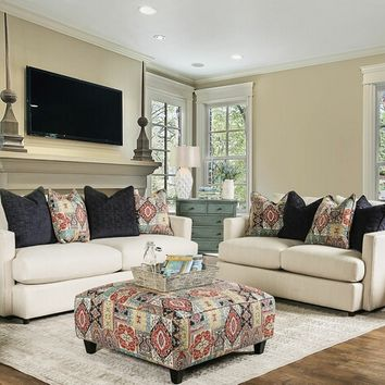 Furniture of america SM8222 2 pc pomfret collection beige textured chenille fabric upholstered sofa and love seat set