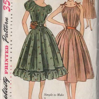1950s Simplicity 3893  ROCKABILLY Gypsy CHEMISE Dress with Shoulder Ties Vintage 50s Sewing Pattern Size 16 Bust 34