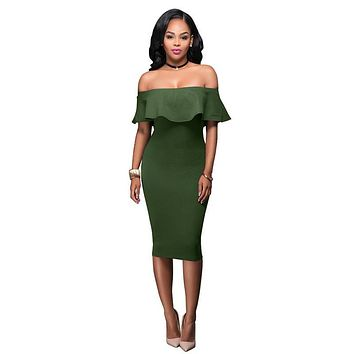 Women Summer Dress Short Sleeve Off The Shoulder Ruffles Dresses Bodycon Sexy Party Dresses Plus Size LJ8465E