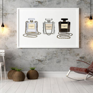 Chanel Perfume Set Vanity CHANEL PRINT Fashion Art French  Decor Paris Wall Art Perfume Poster Coco Chanel Perfume Print Coco Mademoiselle