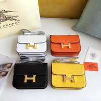 Hermes Women Leather Shoulder Bag Shopping Satchel Tote Bag Handbag