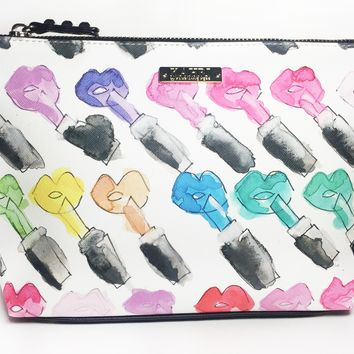 Rainbow Lips and Lipstick Large Cosmetic Bag