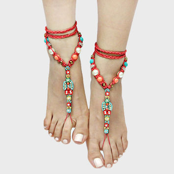 Braided & Beaded Boho Barefoot Sandals - Red